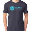 San Fransokyo institute of technology blue neon logo white outline, blue fill Unisex T-Shirt