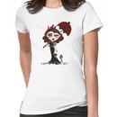 Goth Girl with Crimson Umbrella Women's T-Shirt
