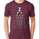 Hug Eye Chart (Clear back, white lettering) Unisex T-Shirt