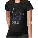 EAT, DON'T SLEEP, FANGIRL, REPEAT (white) Women's T-Shirt