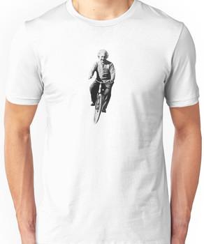 Albert Einstein on a Bike Unisex T-Shirt