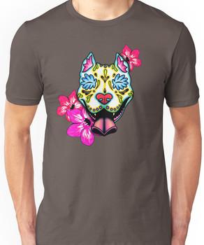 Day of the Dead Slobbering Pit Bull Sugar Skull Dog Unisex T-Shirt