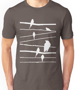 Birds on wire in white Unisex T-Shirt