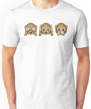 Monkey Emoji - See No Evil, Hear No Evil, Speak No Evil Unisex T-Shirt