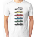 A Stack of Volvo 850 V70 T5 Swedish Turbo Wagons Unisex T-Shirt