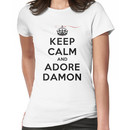 Keep Calm and Adore Damon From Vampire Diaries LS Women's T-Shirt
