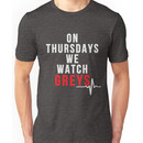 On Thursdays We Watch Greys - White Text Unisex T-Shirt