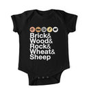 Helvetica Settlers of Catan: Brick, Wood, Rock, Wheat, Sheep / Board Game Geek Ampersan Kids Clothes