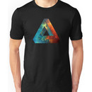 Abstract Geometry: Penrose Nebula (Fire Red/Orange/Blue) Unisex T-Shirt