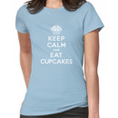 Keep Calm and Eat Cupcakes - white type Women's T-Shirt