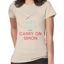 Keep Calm and Carry On Simon (Multi-Color Text) Women's T-Shirt