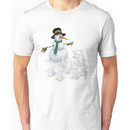 Snowman with Carrot Nose Facing Hungry Bunnies Unisex T-Shirt