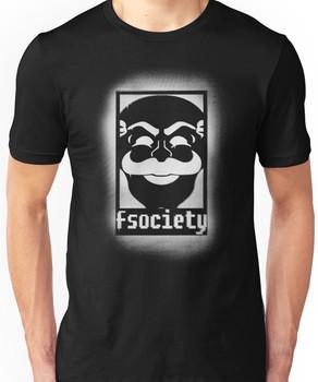 fsociety logo - white spray painted Unisex T-Shirt