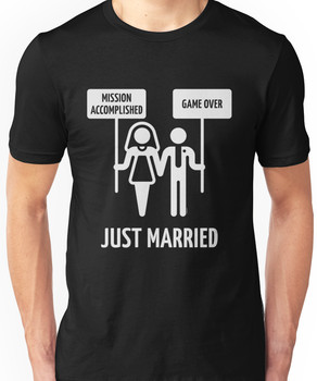 Just Married - Mission Accomplished - Game Over (White) Unisex T-Shirt