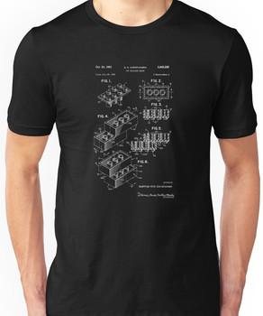 Lego Patent Of Brick 2X4: White Font Unisex T-Shirt