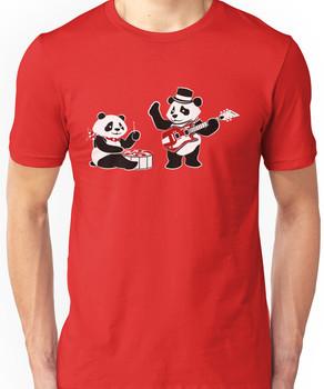 White Stripe Pandas Unisex T-Shirt