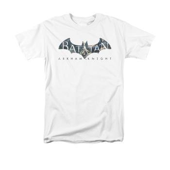 Arkham Knight Descending Logo Adult White T-Shirt from Warner Bros.