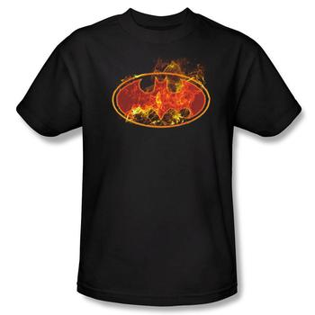 Batman Flames Logo Adult Black T-Shirt from Warner Bros.