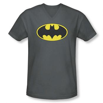 Batman Classic Logo Adult Fitted V-Neck Charcoal T-Shirt from Warner Bros.