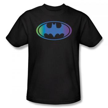 Batman Logo With Gradient Color Adult Black T-Shirt from Warner Bros.