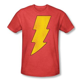 Shazam Logo Adult Red Heather T-Shirt from Warner Bros.