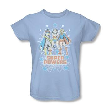 Wonder Woman, Supergirl And Batgirl Super Powers Women's Relaxed Fit Light Blue T-Shirt from Warner Bros.
