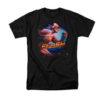 The Flash Tv Series Running Adult Black T-Shirt from Warner Bros.