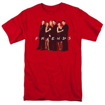 Friends Cast In Black Adult Red T-Shirt from Warner Bros.