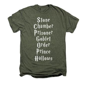 Harry Potter Film Titles Adult Premium Moss Heather T-Shirt from Warner Bros.