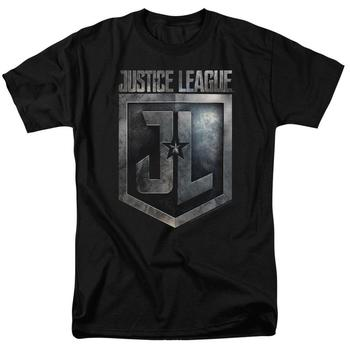 Justice League Movie Shield Logo Adult Black T-Shirt from Warner Bros.