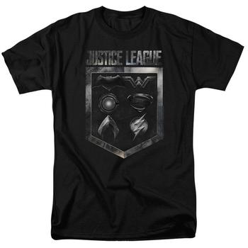 Justice League Movie Shield Of Emblems Adult Black T-Shirt from Warner Bros.