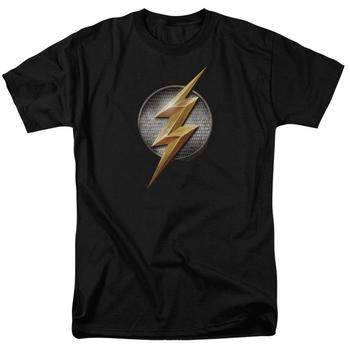 Justice League Movie The Flash Logo Adult Black T-Shirt from Warner Bros.