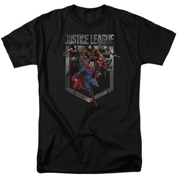 Justice League Movie Charge Adult Black T-Shirt from Warner Bros.