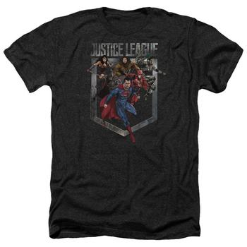 Justice League Movie Charge Adult Heather Black T-Shirt from Warner Bros.