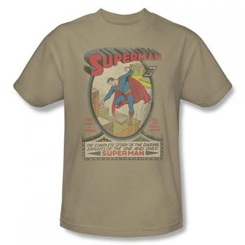 Superman Comic Cover: #1 Cover Adult Tan T-Shirt from Warner Bros.