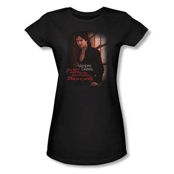Vampire Diaries&Trade; Damon Three's A Party Juniors Black T-Shirt from Warner Bros.