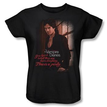 Vampire Diaries&Trade; Damon Three's A Party Women's Relaxed Fit Black T-Shirt from Warner Bros.