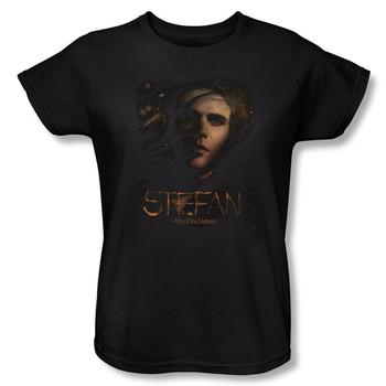 Vampire Diaries&Trade; Stefan Smokey Veil Women's Relaxed Fit Black T-Shirt from Warner Bros.