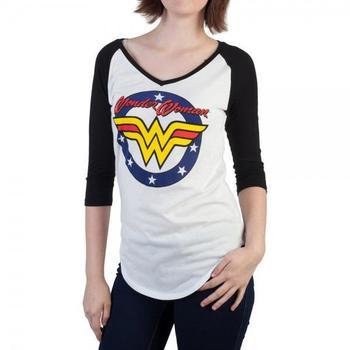 Wonder Woman Logo V-Neck Raglan Juniors T-Shirt from Warner Bros.
