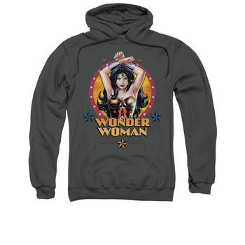 Wonder Woman Crossed Fists Adult Charcoal Hoodie from Warner Bros.