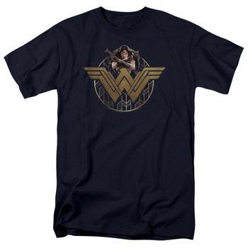 Wonder Woman Movie Power Stance & Emblem Adult Navy T-Shirt from Warner Bros.