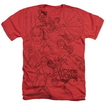 Wonder Woman 75Th Anniversary Battle Ready Heather Red Adult T-Shirt from Warner Bros.