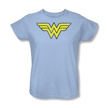 Wonder Woman Logo Women's Light Blue Relaxed Fit T-Shirt from Warner Bros.