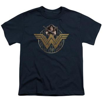 Wonder Woman Movie Power Stance & Emblem Youth Navy T-Shirt from Warner Bros.