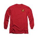 Batman Robin Logo Red Long Sleeve T-Shirt