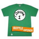 Drunk 1 Bottle Opener Green Graphic Tee Shirt