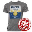 Corona Extra Men's Grey Bottle Label Pop Top Bottle Opener Tee Shirt