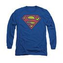 Superman Distressed Shield Logo Long Sleeve T-Shirt