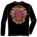 Firefighters 9/11 Never Forget USA Black Long Sleeve Tee Shirt