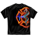 Firefighter Fire Rescue Patriotic T Shirt - Black